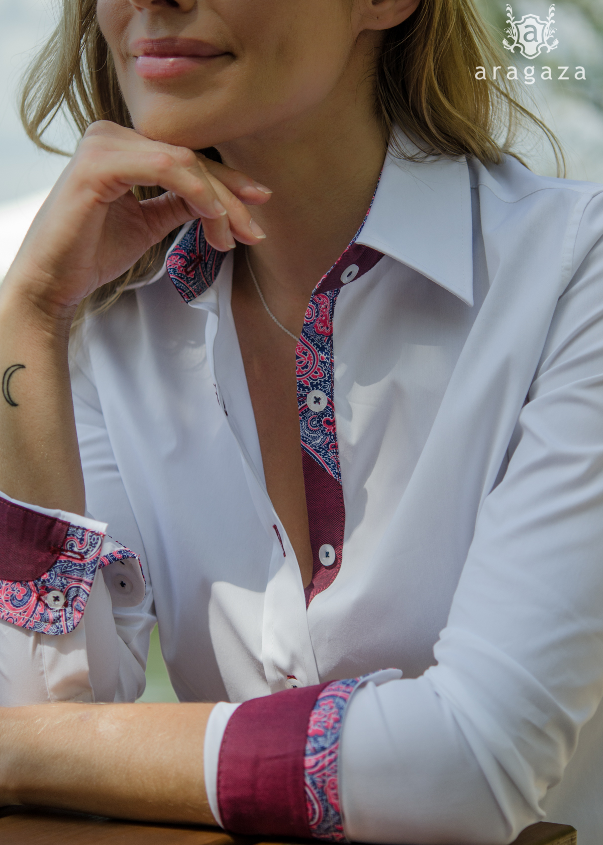 Camisa Lindsey Blanco | Aragaza - Your shirt made in Barcelona - Quality shirts