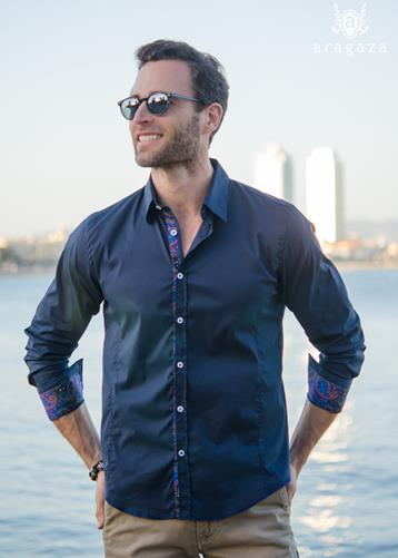Camisa Chemist Marino | Aragaza - Your shirt made in Barcelona - Quality shirts