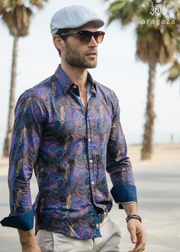 Camisa Biella azul | Aragaza - Your shirt made in Barcelona - Quality shirts