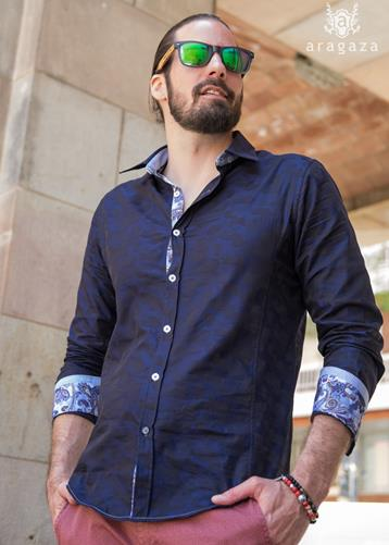 Camisa Mimetica azul | Aragaza - Your shirt made in Barcelona - Quality shirts