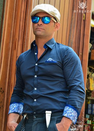 Camisa Aerostática Azul | Aragaza - Your shirt made in Barcelona - Quality shirts