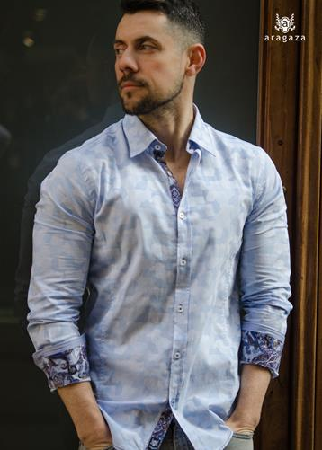 Camisa Mimetica celeste | Aragaza - Your shirt made in Barcelona - Quality shirts